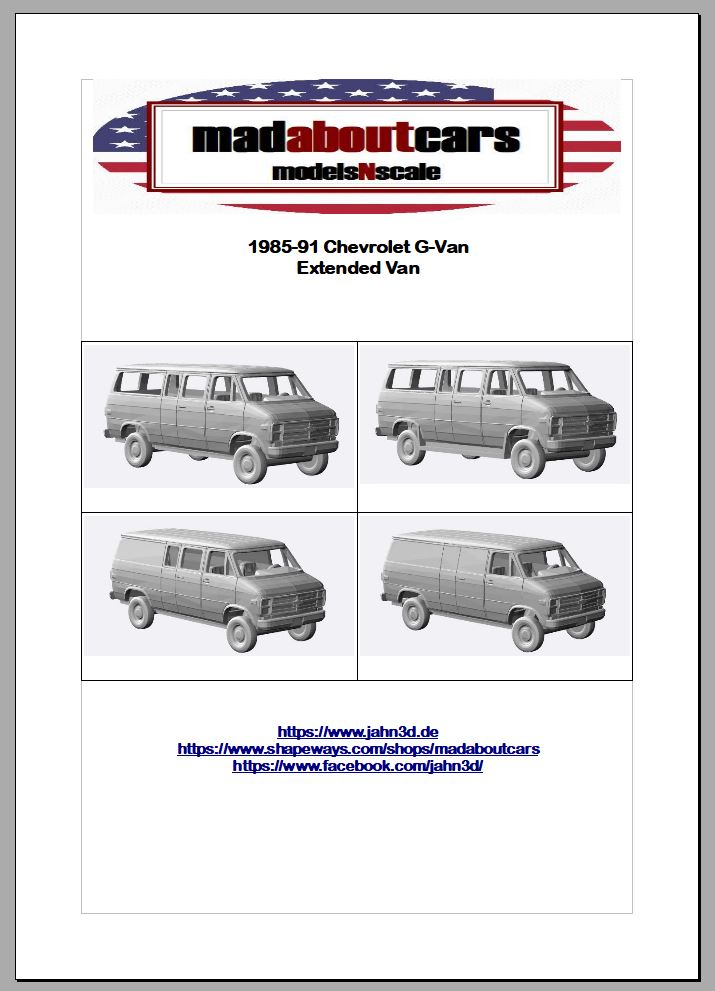 1985-91 Chevrolet G-Van Extended Van Announcement